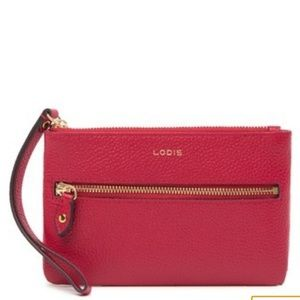 Lodis Red Small Leather Wristlet